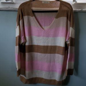Mustard Seed brand sweater, tan, cream, and pink
